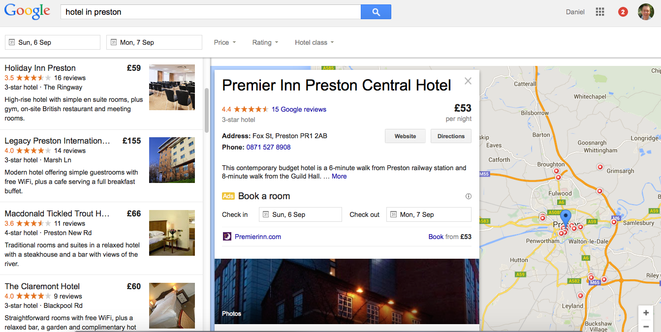 Google Local listing view expanded