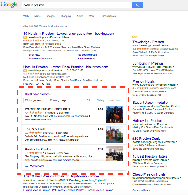 Example of Google Local listing